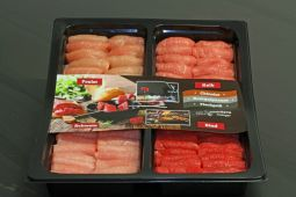 Fondue Chinoise Platte DELUXE mit Rindsfilet, Kalbsfilet, Schweinsfilet und Pouletbrust